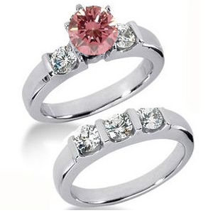 Diamantringe Set No. 8 - Diamantring mit pink Diamant