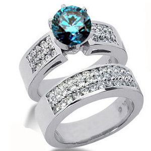 Diamantring blauer Diamant Set 18