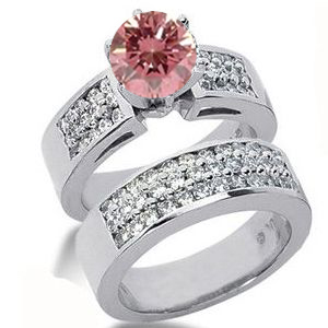 Diamantring pink Diamant Set 18