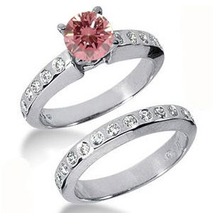 Eheringe- Diamantringe mit pink Diamant Set 21