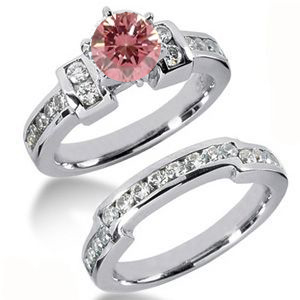 Eheringe- Diamantringe mit pink Diamant Set 22