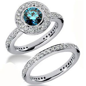Diamantring blauer Diamant Set 17