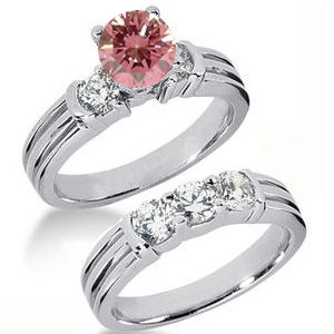 Eheringe- Diamantringe mit pink Diamant Set 13