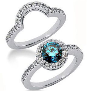 Diamantring blauer Diamant Set 30