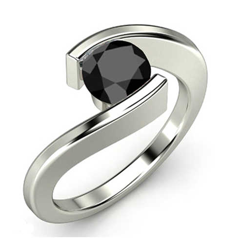 1.00 Quilates Diamante negro Anillo Solitarios 14k oro blanco