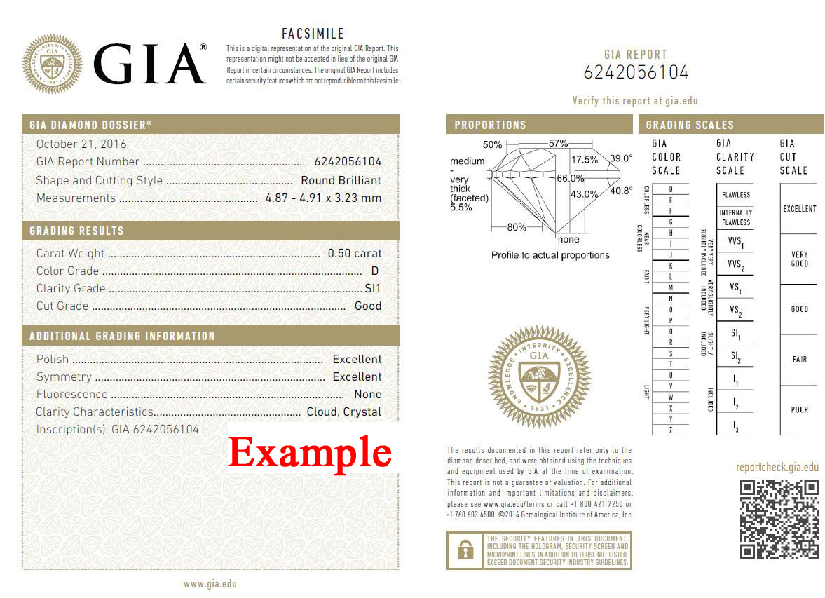 GIA Certificate Example D/SI1 Brilliant