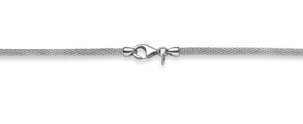 Stocking chain 585 white gold 3mm knitted chain, 42cm to 50cm
