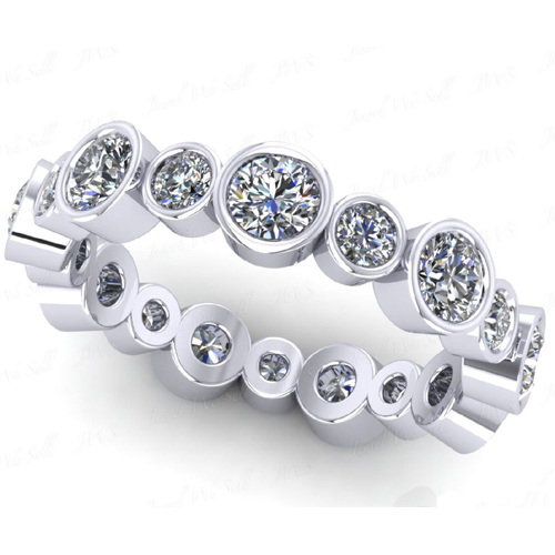 1.15 Ct. Mémoire Blanc Diamants Bague de Or 18K H/SI1