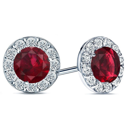 2.60 carats Ruby Diamond earrings - 14K white Gold