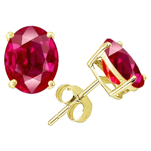 0.50 Ct. Ruby Earstuds - 14K yellow gold