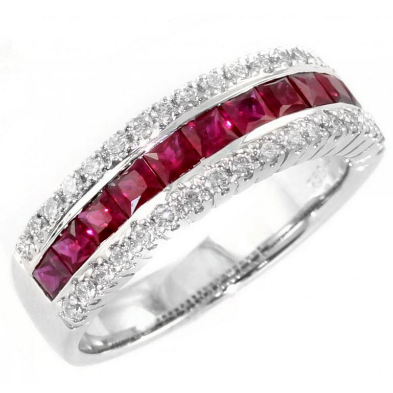 1.85 Carat Ruby brilliant ring in 18K white gold