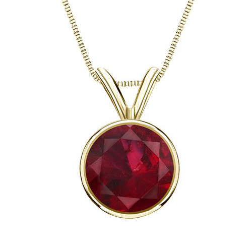 1.00 carats Ruby Solitaire Pendant - 14K Yellow Gold