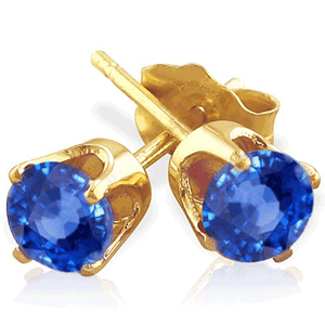 0.50 Ct. blue Sapphire Earstuds - 14K yellow gold