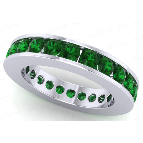 2.75 carat Eternity Emerald Ring 14K white gold