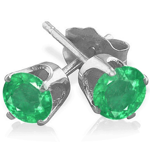 0.50 Ct. Emerald Earstuds - 14K white gold