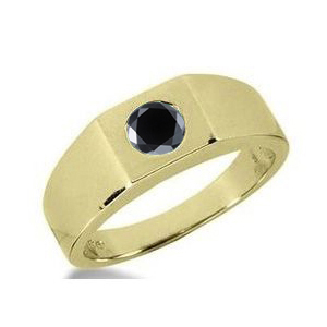 0.75 CT ROUND BLACK DIAMOND 14K YELLOW GOLD MEN'S RING