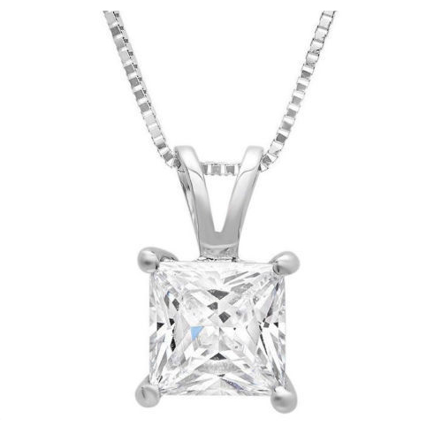 0.50 Carat white Diamond 14K gold Pendant with chain