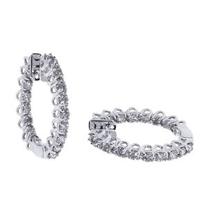 2.00 Ct. Diamond Earrings - 14 K white gold