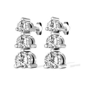 1.00 Ct. Diamond Earrings - 14 K white gold