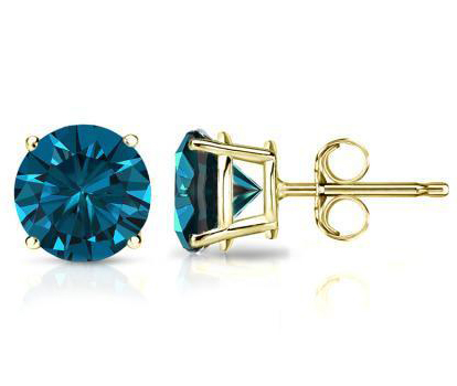 0.18 Ct. Blue Diamond Earstuds - 14 K yellow gold