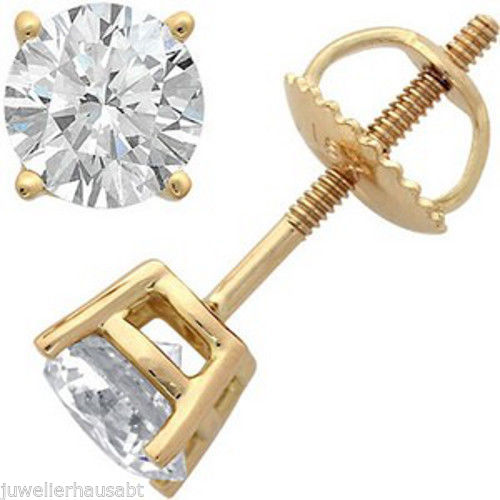 Diamantohrstecker 1.00 Karat VS2 Diamanten in 585er Gelbgold