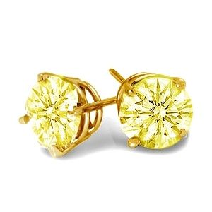 0.50 Ct. Yellow Diamond Earstuds - 14K white or yellow gold