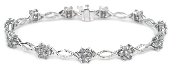 Diamond Bracelet 3.00 Ct. Diamonds - 14K White Gold