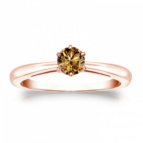 Diamant Ring Solitär 0.50 Karat Champagner Diamant in 585/14K Rosegold