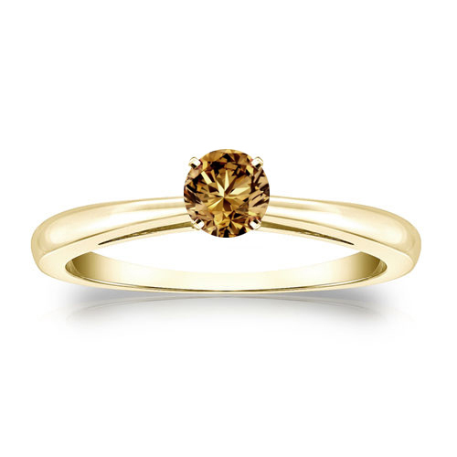 Diamant Ring Solitär 0.25 Karat Champagner Diamant in 585/14K Gelbgold