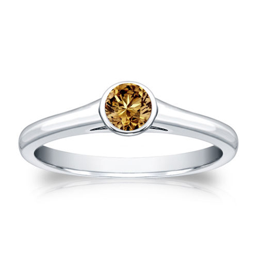 Diamant Ring Solitär 0.25 Karat Champagner Diamant in 585/14K Weißgold