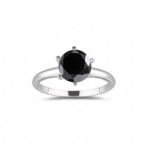1.50 Quilates Diamante negro Anillo Solitario 14k oro blanco