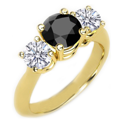 Diamond triple ring black / white 0.75 carat, 14K yellow gold