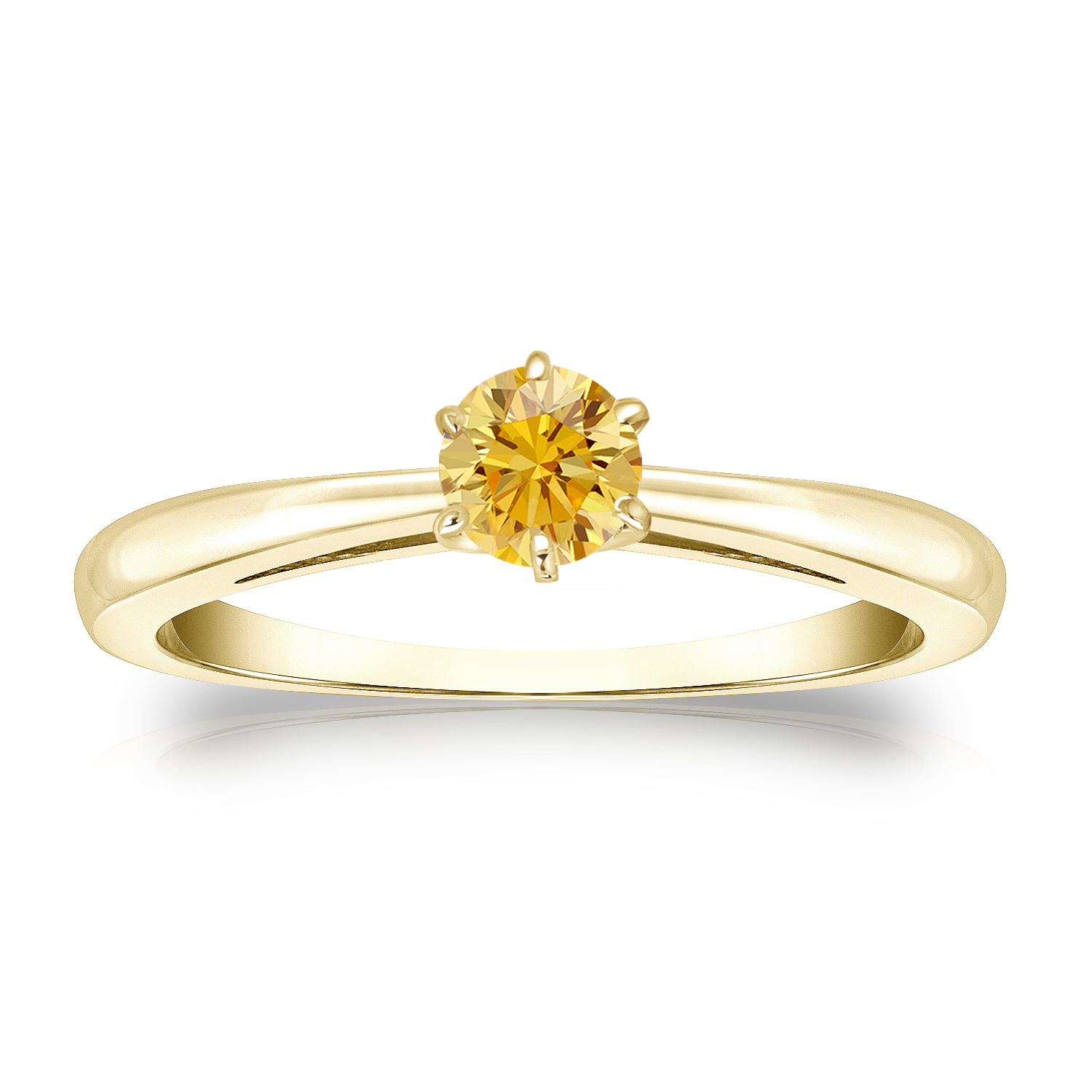 1/4 CT YELLOW DIAMOND ENGAGEMENT RING 14K YELLOW GOLD