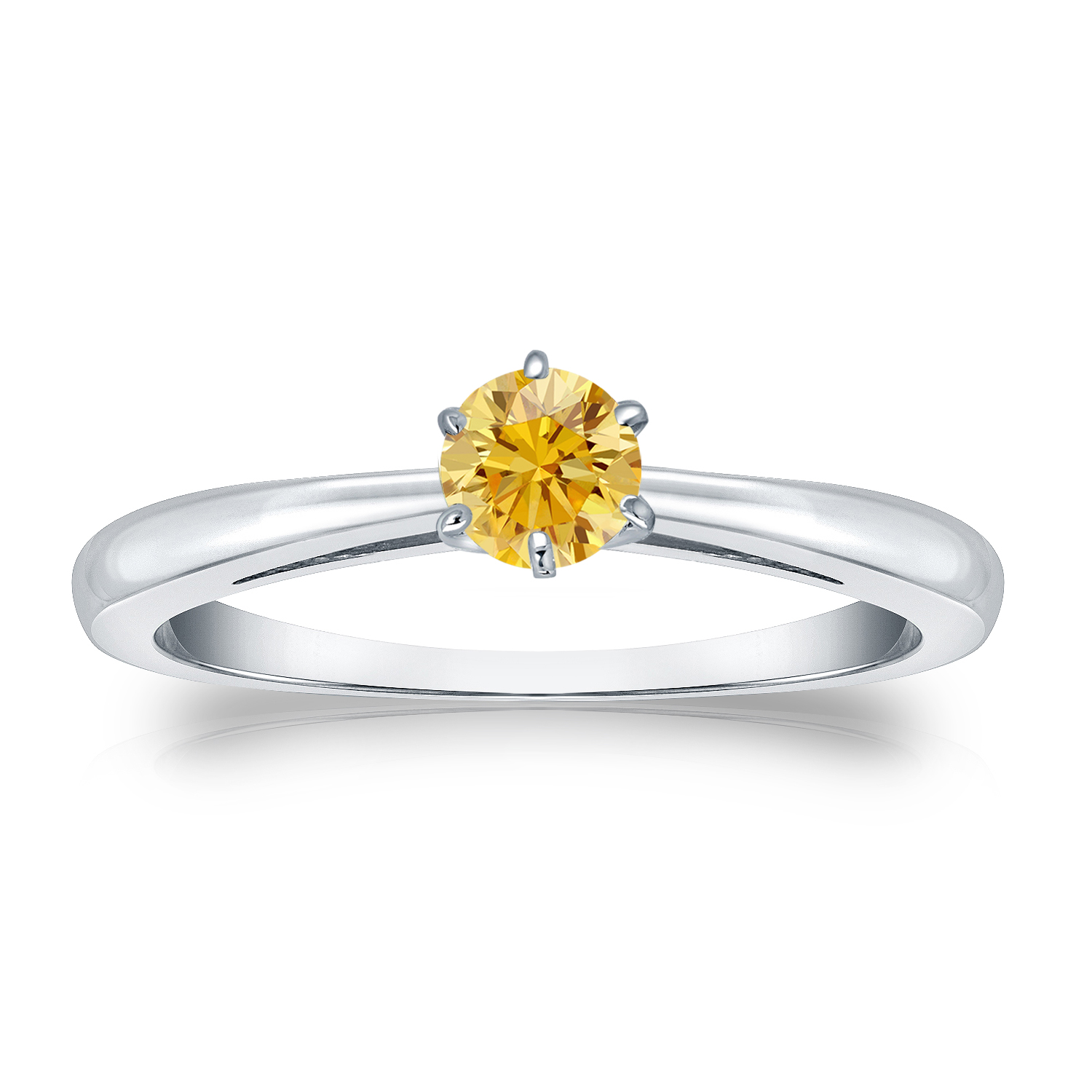 1/4 CT YELLOW DIAMOND ENGAGEMENT RING 14K WHITE GOLD