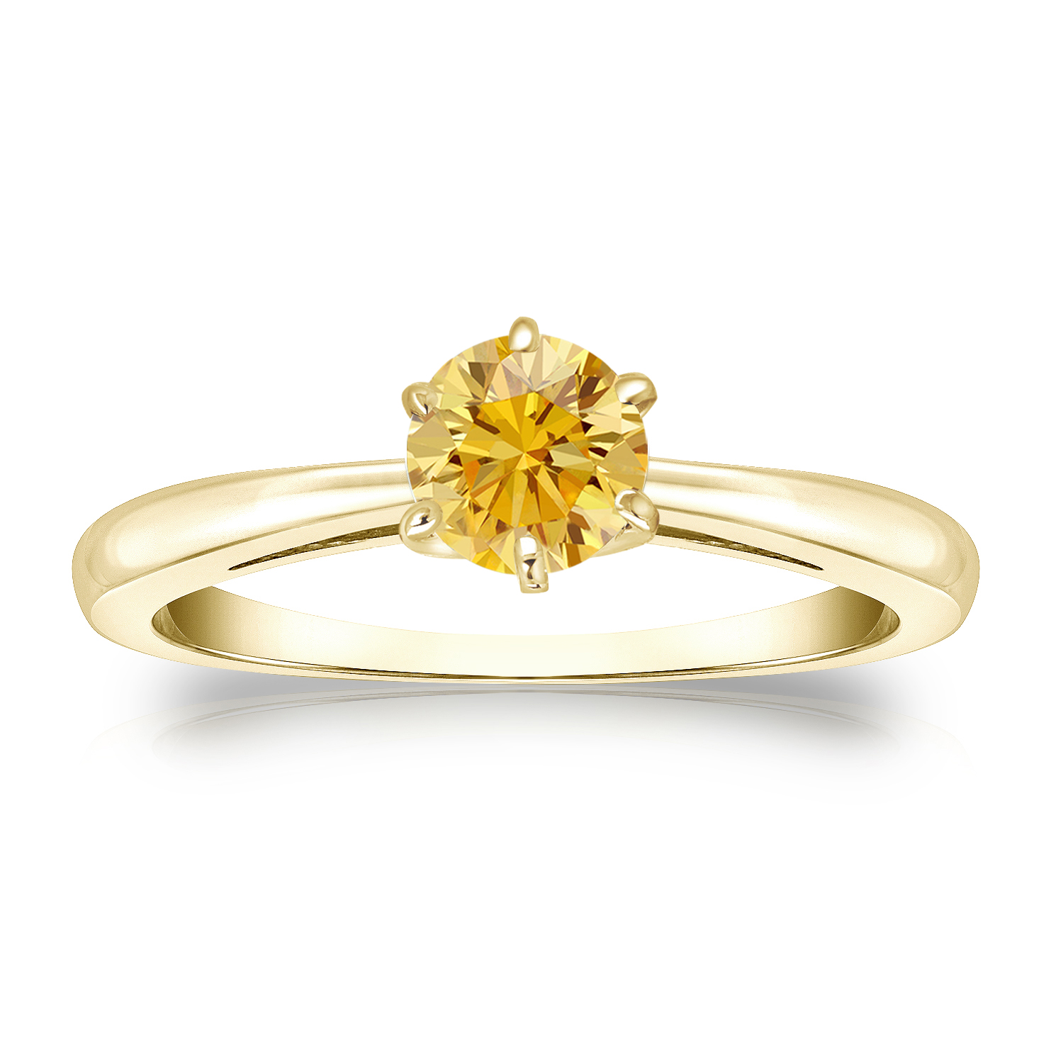1/2 CT YELLOW DIAMOND ENGAGEMENT RING 14K YELLOW GOLD