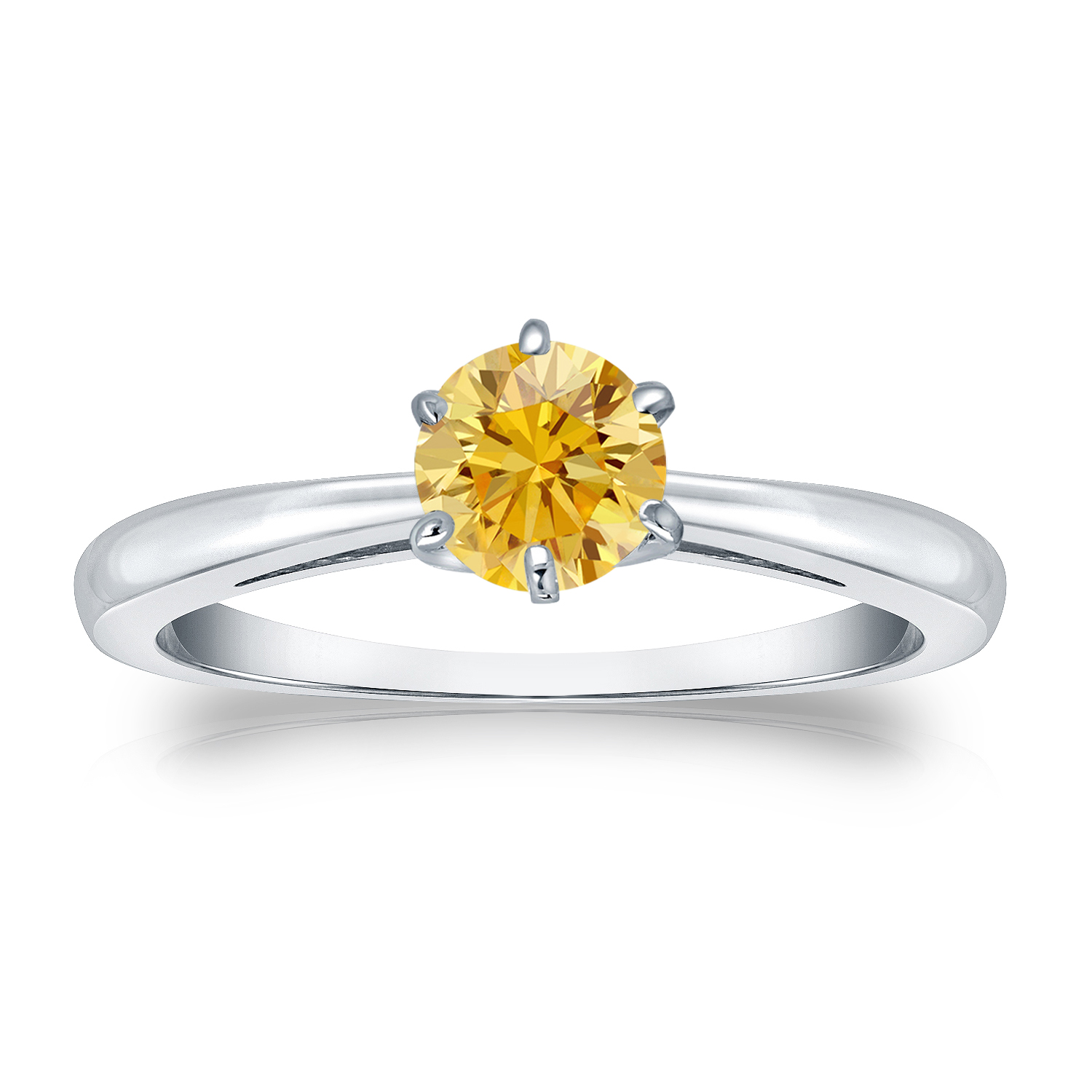 1/2 CT YELLOW DIAMOND ENGAGEMENT RING 14K WHITE GOLD
