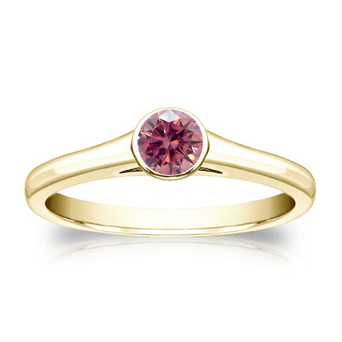 0.50 Carat pink diamond ring 14k yellow gold