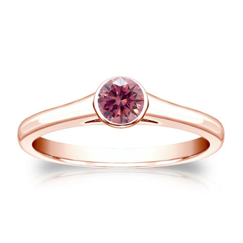0.50 Carat pink diamond ring 14k rose gold