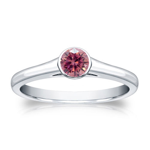 1/2 CT PINK DIAMOND ENGAGEMENT RING 14K WHITE GOLD