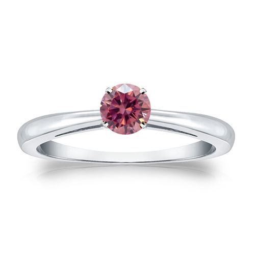 Solitaire 0.25 Ct. rose Diamant Bague de Or blanc 14K