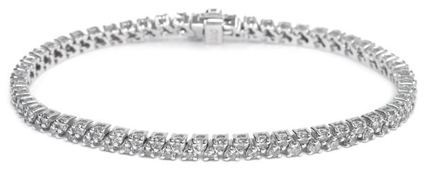 Diamond Bracelet with 3.00 Ct. Diamonds - 14K White Gold