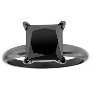 2.00 CT BLACK DIAMOND ENGAGEMENT RING 14K BLACK GOLD