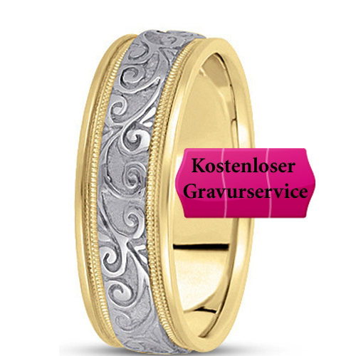 14K Gold two tone Wedding Band No. 319