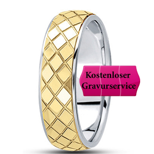 14K Gold two tone Wedding Band No. 379