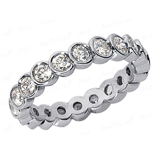 0.75 Ct. Mémoire Blanc Diamants Bague de Or 14K