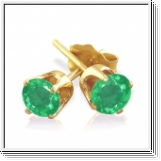 0.25 Ct. Emerald Earstuds - 14K yellow gold