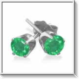 1.00 Ct. Emerald Earstuds - 14K white gold