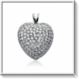 2.25 Carat Diamond Fancy Heart Pendant 14K white gold