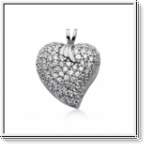 1.50 Carat Diamond Fancy Heart Pendant 14K white gold