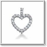 2.50 Carat Diamond Heart Pendant 14K white gold